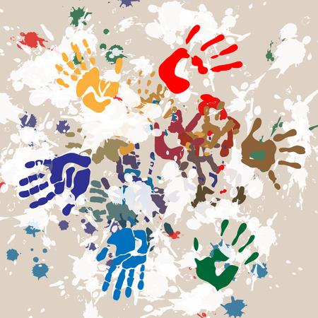 childishly: handprints color round darken Illustration