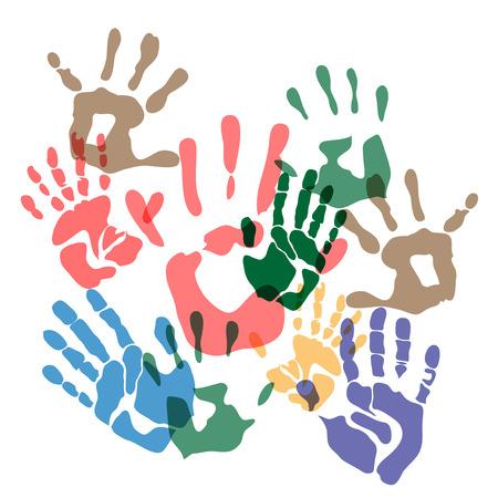 childishly: handprints color Illustration