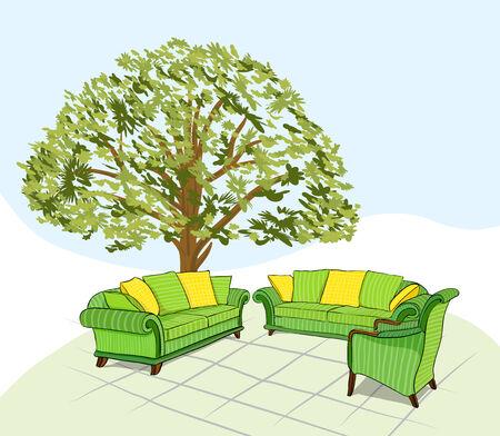 upholstered: drawing of a striped upholstered furniture set  Illustration