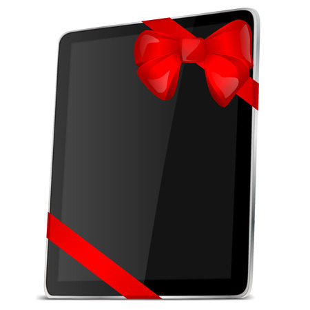 personal tablet black screen Ribbon Vector