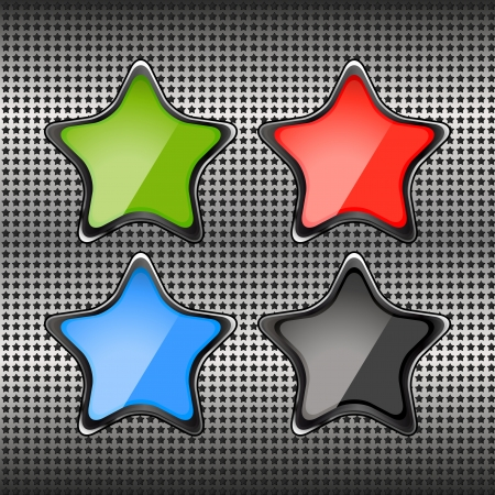 metal grid of stars with the green button Stock Vector - 25400479