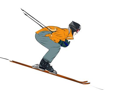 Skier Flying Down Slope