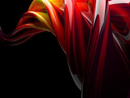Abstract swirly shape on transparent background. 3D rendering