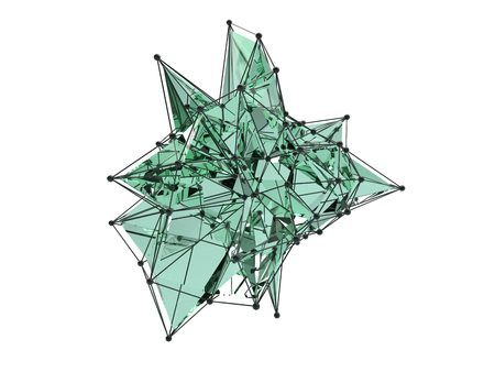 Abstract 3d rendering of chaotic plexus surface. White background with futuristic polygonal shape. Distorted low poly object with sharp lines.