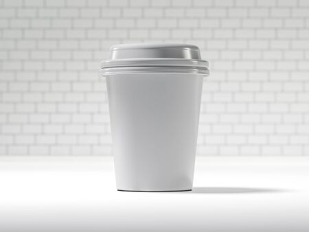 stimulant: Disposable coffee cup isolated. 3D rendering Stock Photo