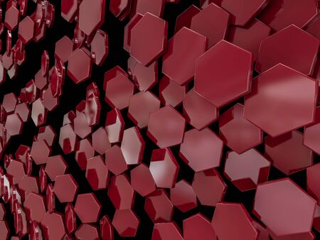 Hexagon abstract red background. 3D rendering Stock Photo