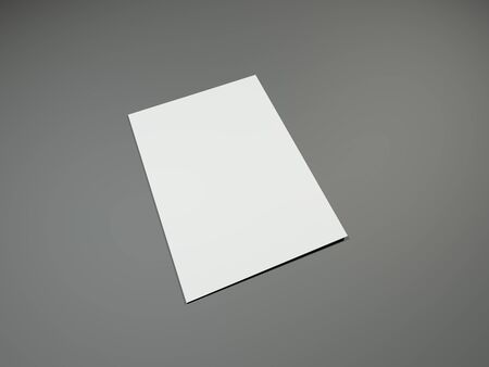 open magazine: Blank portrait A4, US-Letter, brochure magazine mockup on gray. 3D rendering Stock Photo