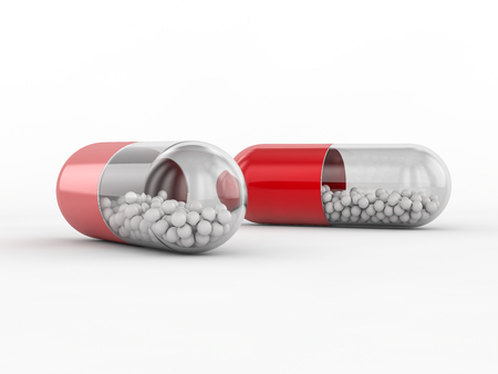 group therapy: Capsule with drug on white background. 3D rendering