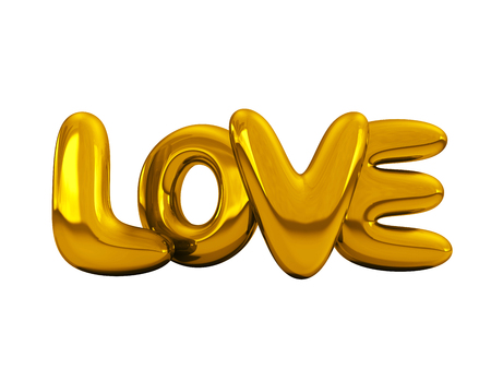 Gold inflatable word love over background with reflection. 3D rendering. Stock Photo