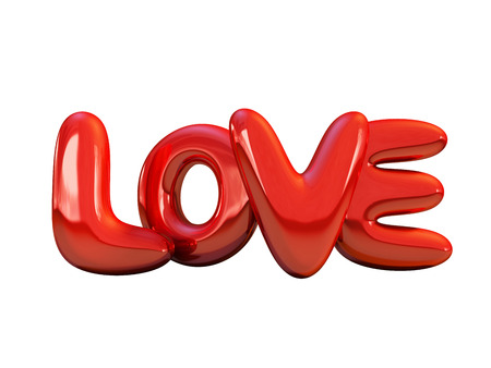 Red inflatable word love over background with reflection. 3D rendering.