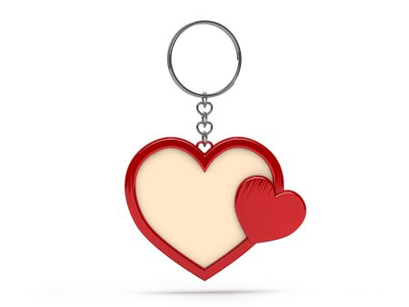 Illustration of a blank metal heart shape keychain with a ring for a key, Isolated on a transparent background. 3D rendering. Stock Photo