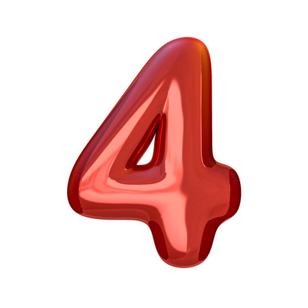 Red numbers made of inflatable balloons isolated on transparent background. 3D rendering