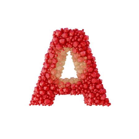 Super realistic 3d rendering of alphabet with crystal