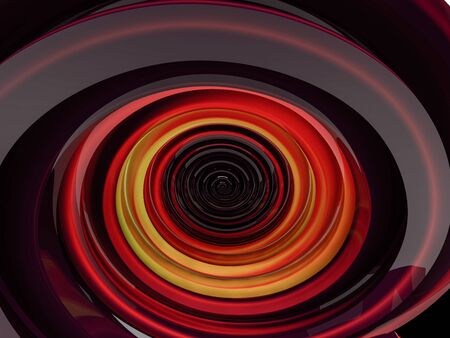 Abstract swirly red shape on black background. 3D rendering Stock Photo