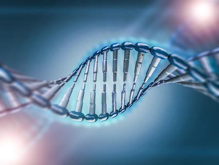 과학적 배경에 DNA 모델의 디지털 그림. 3D 렌더링