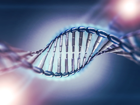 Digital illustration of a DNA model on science background. 3D rendering Banco de Imagens