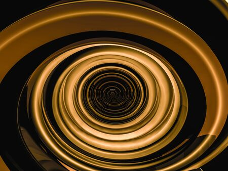 Abstract swirly gold shape on black background. 3D rendering