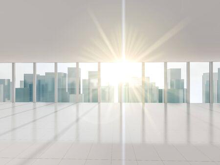 Big window with views of city. 3d rendering