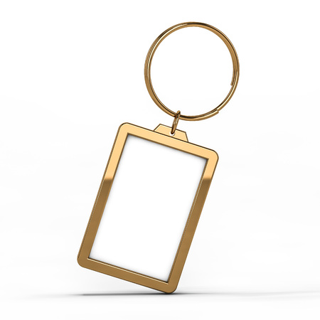 3D rendering illustration of a blank metal keychain with a ring for a key, Isolated on a white background. Ideal template for branding, identity guidelines and promo campaigns.