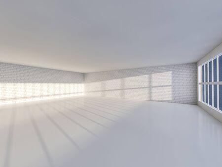 flooring: Sunny big open area with windows. 3D rendering.