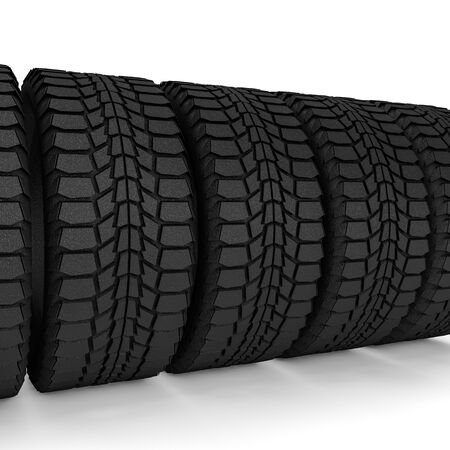 Car tire isolated on white background. 3D rendering