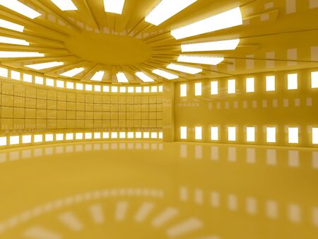 Empty yellow room interior with lamps. 3D rendering Stock Photo