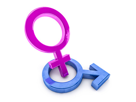 Gender symbols of man and woman. 3D rendering