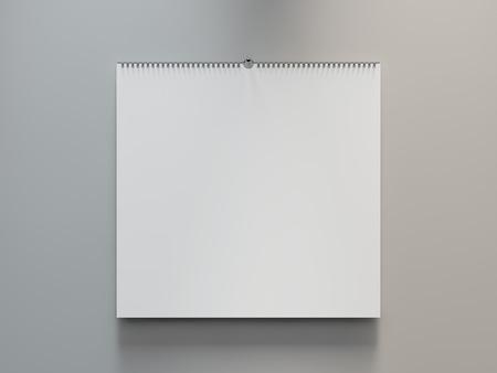 Leeg ontwerp kalender sjabloon op een grijze achtergrond met zachte schaduwen. 3D-weergave Stockfoto