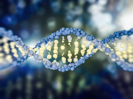 科学背景に DNA モデルのデジタル イラストです。3 D レンダリング 写真素材