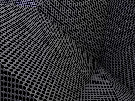 metal mesh: Carbon abstract dotted dark background concept. 3D rendering Stock Photo