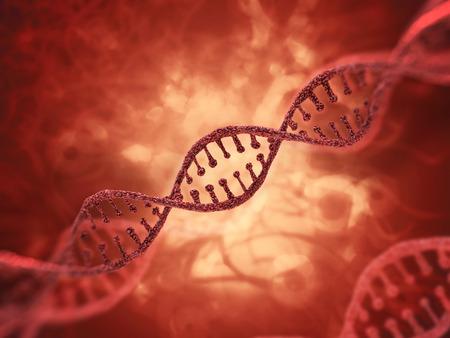 DNA molecule research concept. 3D rendering