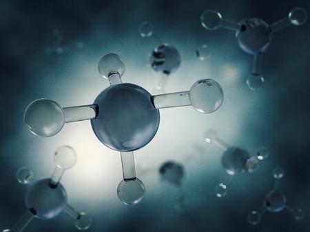 Methane Molecule Image. 3D rendering Banco de Imagens - 78105821