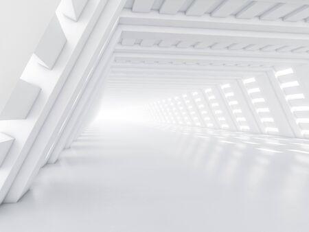 Abstracte moderne architectuur achtergrond, lege witte open ruimte interieur. 3D-weergave