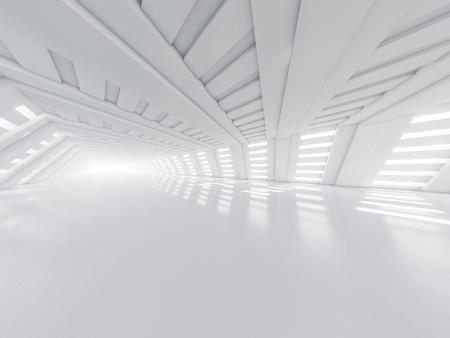 Abstract modern architecture background, empty white open space interior. 3D rendering Banco de Imagens