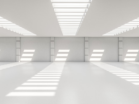 garage on house: Abstract modern architecture background, empty white open space interior. 3D rendering Stock Photo