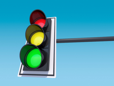 Isolated traffic light. 3D rendering Stock Photo
