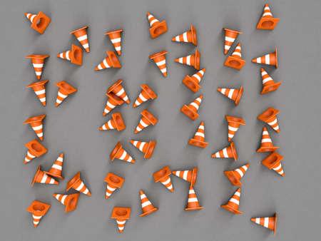 outdoor blank billboard: Orange road cones with stripes top view. 3D rendering Stock Photo