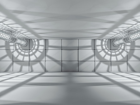 futuristic interior: Abstract modern architecture background, empty white open space interior. 3D rendering Stock Photo