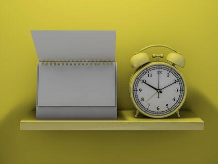 Blank calendar on the shelf. 3D rendering