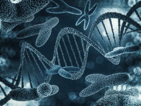염색체, 유전자 돌연변이, 유전 암호. 3D 렌더링