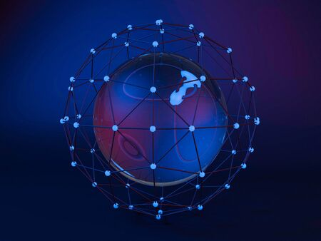 trade union: Abstract global network. 3D rendering