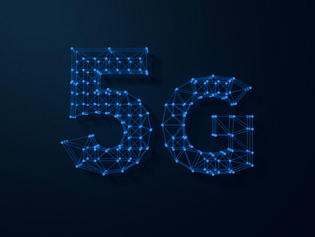 wireless signal: 5G symbol on dark digital background. 3D rendering