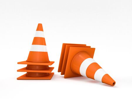 traffic pole: Orange road cones with stripes. 3D rendering
