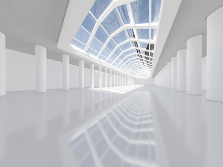 Abstract modern architecture background, empty white open space interior. 3D rendering Фото со стока