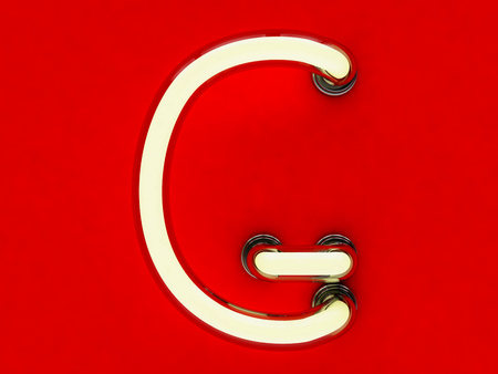alphabetic character: Neon tube letter on red background. 3D rendering
