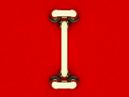 Neon tube letter on red background. 3D rendering