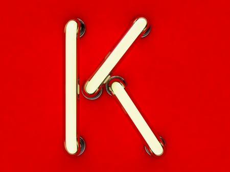 Letra de tubo de neón sobre fondo rojo. Representación 3D