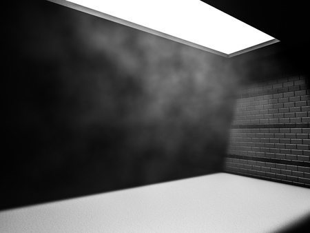 Dark concrete empty room interior. 3D rendering