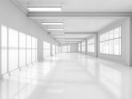 Abstrakt modernen Architektur Hintergrund, leere weiße offene Raum Interieur. 3D-Rendering Standard-Bild - 81078263
