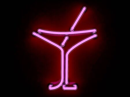 walled: Neon cocktail city sign signboard. 3D rendering Stock Photo